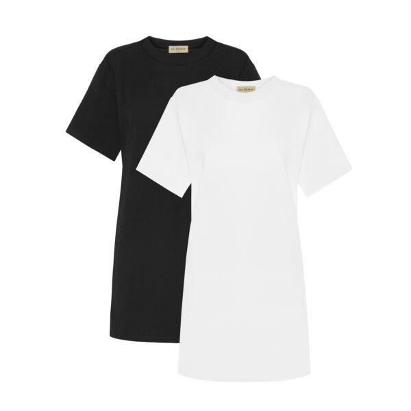 tshirt biały czarny długi