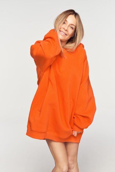 bluza oversize pomarańczowa z kapturem