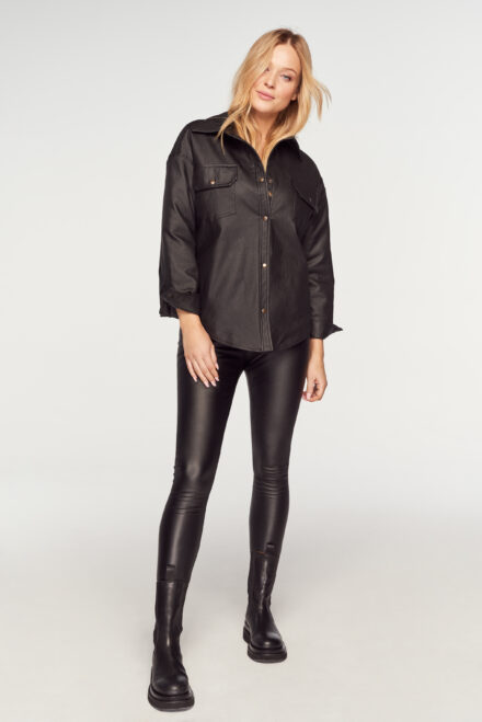 koszula legginsy czarne woskowane