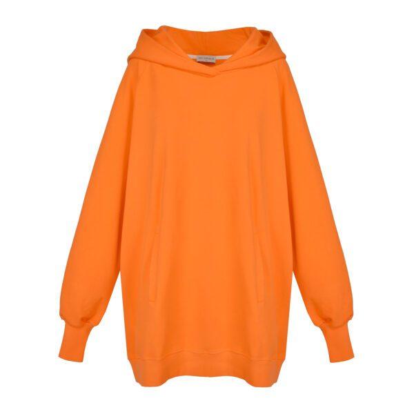 bluza oversize pomarańczowa z kapturem przód