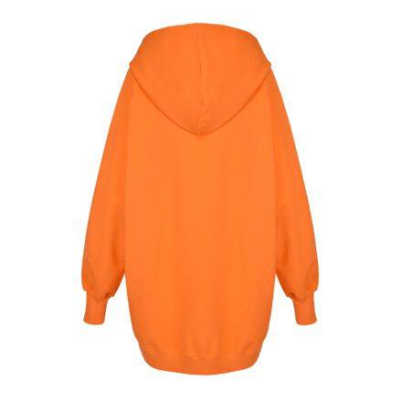 bluza oversize pomarańczowa z kapturem tył