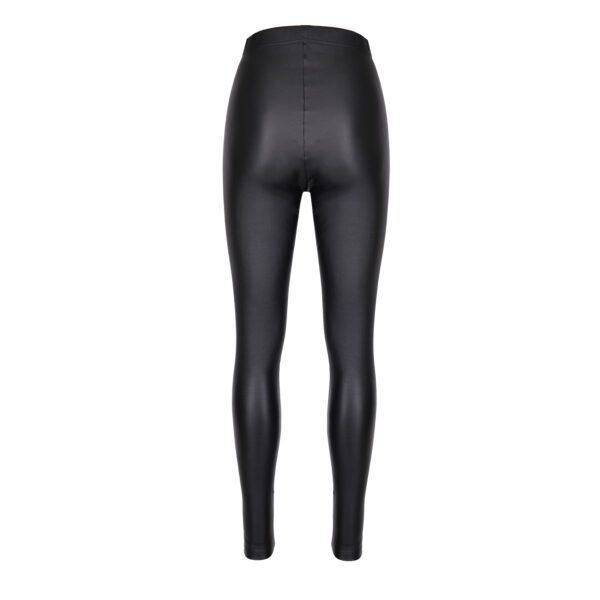 legginsy woskowane czarne tył