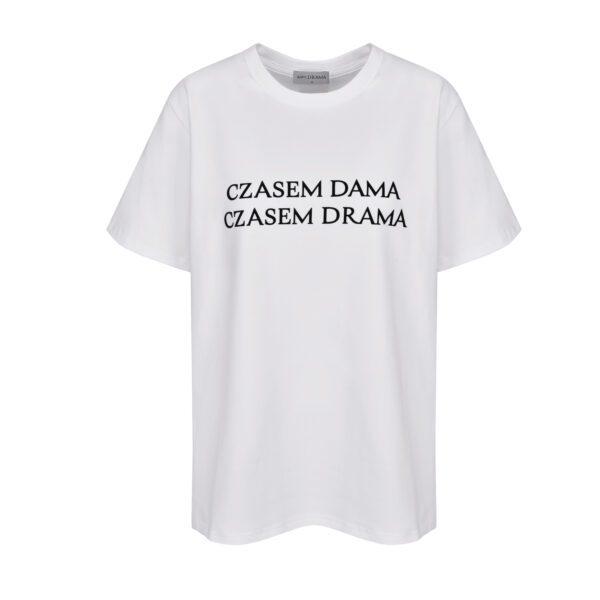 tshirt czasem dama czasem drama biały przód