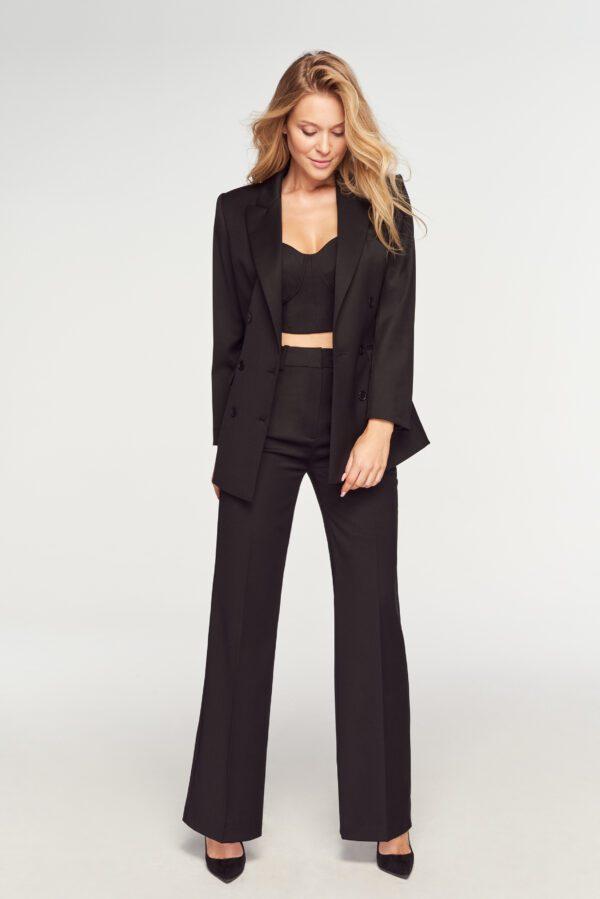 komplet czarny spodnie garniturowe gorset