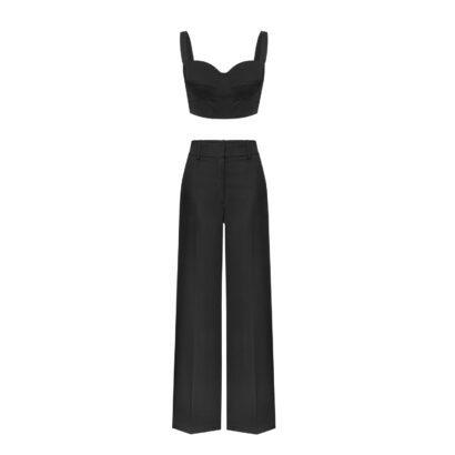 spodnie garniturowe czarne gorset
