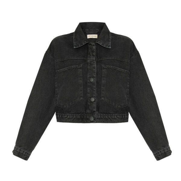 kurtka jeansowa czarna przód
