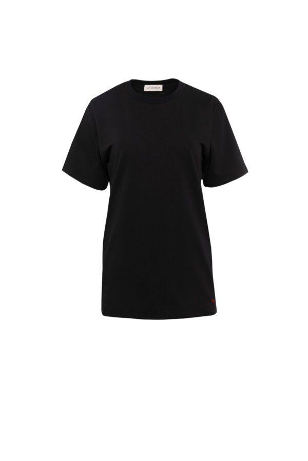 tshirt 2 z balonikiem krótki czarny przód cut