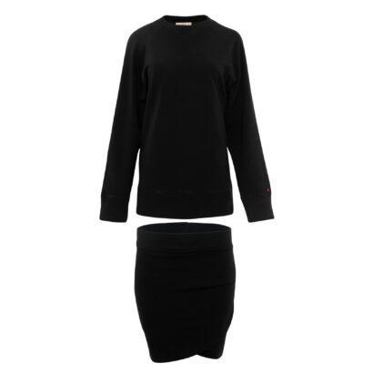 bluza ze spódnicą czarna komplet front